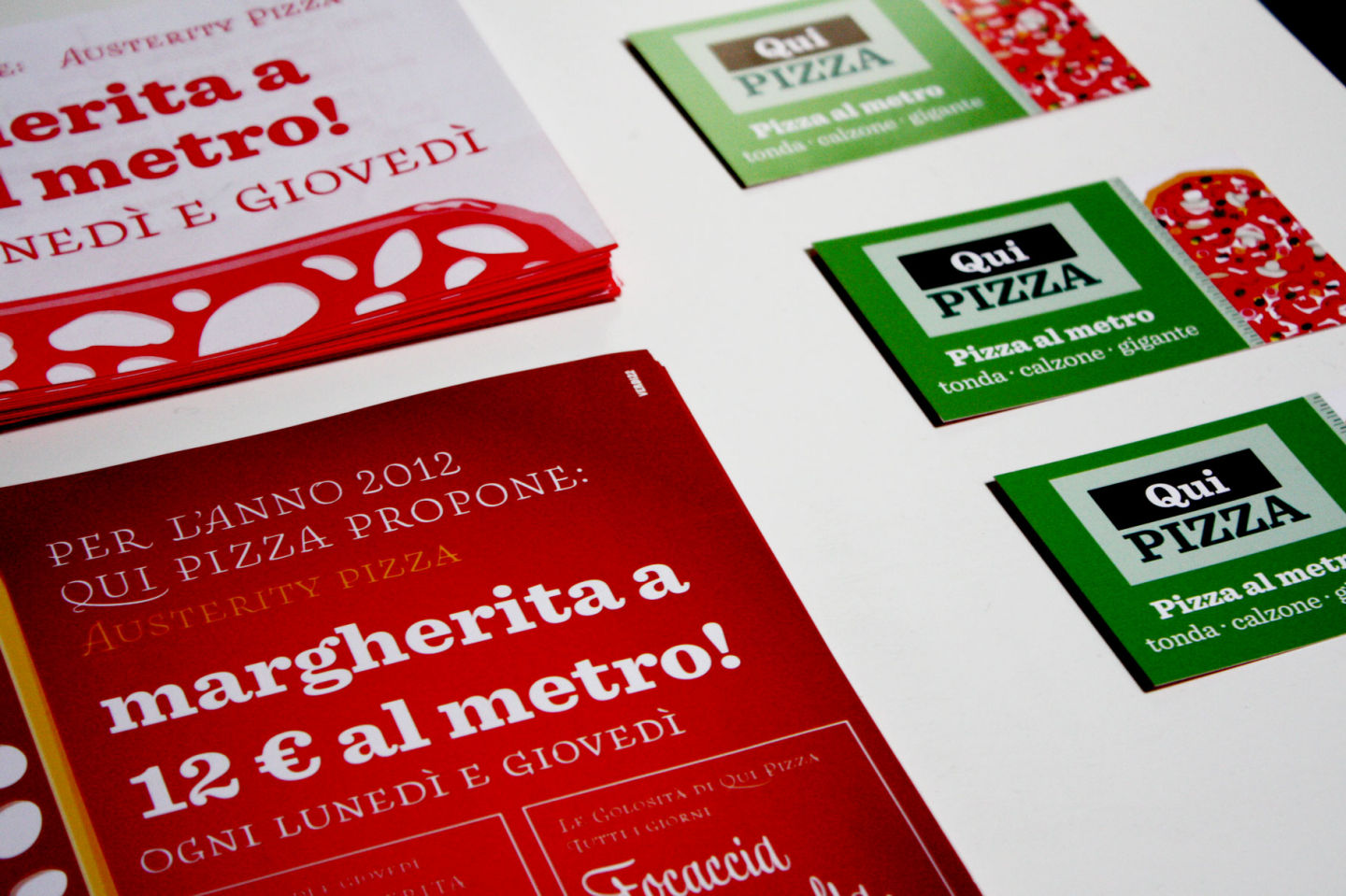 Qui Pizza logo restyling and environmental